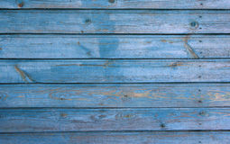 Ljus - blå trähusvägg med skalningsmålarfärg, textur Royaltyfri Fotografi