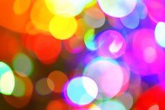 Ljus bokeh, färgrik ljus festlig bakgrund Suddighet lampor Royaltyfria Bilder