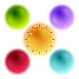Ljus bollar 3d och klocka för infographic design Arkivbild
