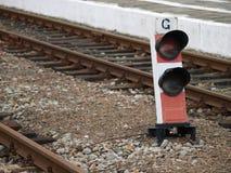 Ljus bredvid järnvägsspår Fotografering för Bildbyråer
