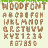 Ljus - brun wood alfabetsamling vektor illustrationer