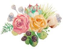 Ljus bukett av blommor i vattenfärg Royaltyfria Bilder