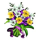 Ljus bukett av blommor på en vit bakgrund Royaltyfria Bilder