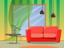 Ljus design av rummet med en soffa, två lampor och en tabell med blommor i en vas Plan stilillustration stock illustrationer
