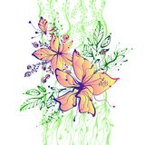 Ljus drog blommor för fantasi hand Arkivfoto