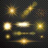 Ljus effekt för genomskinligt glöd Stjärnabristningen med mousserar stock illustrationer