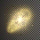 Ljus effekt för genomskinligt glöd Stjärnabristningen med mousserar blänka guld också vektor för coreldrawillustration vektor illustrationer