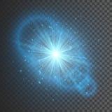 Ljus effekt för genomskinligt glöd Stjärnabristningen med mousserar Blått blänker också vektor för coreldrawillustration vektor illustrationer