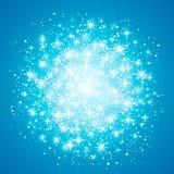 Ljus effekt för glöd på blå bakgrund också vektor för coreldrawillustration Jul exponerar begrepp Stjärnabristningen med moussera royaltyfri illustrationer