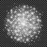 Ljus effekt för glöd på genomskinlig bakgrund också vektor för coreldrawillustration Jul exponerar begrepp Stjärnabristningen med stock illustrationer