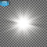 Ljus effekt för glöd Starburst med mousserar på genomskinlig bakgrund också vektor för coreldrawillustration Fotografering för Bildbyråer