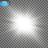 Ljus effekt för glöd Starburst med mousserar på genomskinlig bakgrund också vektor för coreldrawillustration Arkivbilder