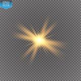Ljus effekt för glöd Starburst med mousserar på genomskinlig bakgrund också vektor för coreldrawillustration Royaltyfria Foton