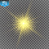 Ljus effekt för glöd Starburst med mousserar på genomskinlig bakgrund också vektor för coreldrawillustration Royaltyfri Fotografi