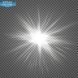 Ljus effekt för glöd Starburst med mousserar på genomskinlig bakgrund också vektor för coreldrawillustration Royaltyfri Bild