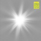 Ljus effekt för glöd Stjärnabristningen med mousserar sun Abstrakt begrepp för ljus för maktenergineon kosmiskt vektor illustrationer