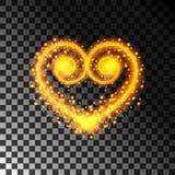 Ljus effekt för hjärta med gnistor som är guld- Genomskinlig bakgrund, vektorillustration royaltyfri illustrationer