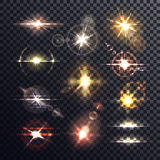 Ljus effekt för stjärna eller för sol, för stråle och för bristning stock illustrationer