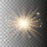 Ljus effekt f?r guld- gl?d royaltyfri illustrationer