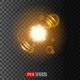 Ljus effekt med linssignalljuset och mousserar royaltyfri illustrationer
