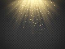 Ljus effekt, solstrålar, strålar på genomskinlig bakgrund vektor stock illustrationer