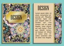 Ljus elegant design för att gifta sig inbjudan-, födelsedag- och hälsningkort Vektorkonst med orientaliskt motiv Kort med stock illustrationer