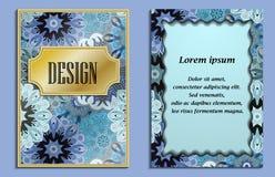 Ljus elegant design för att gifta sig inbjudan-, födelsedag- och hälsningkort Vektorkonst med orientaliskt motiv Skinande kort vektor illustrationer