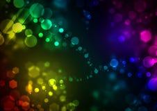 Ljus färgrik bakgrund med glödande bubblor och sexhörningar vektor illustrationer