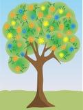 ljus färgrik blommaillustrationtree Arkivbild