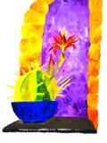 Ljus färgrik illustration av kaktuns framme av det purpurfärgade fönstret Arkivfoto