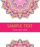Ljus färgrik mandala på ett vitt kort Fotografering för Bildbyråer
