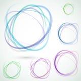Ljus färgrik uppsättning för cirkeldesignbeståndsdelar Arkivfoton