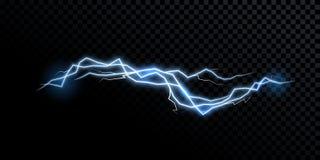 Ljus för åska för vektor för elektricitetsblixtåskvigg realistiskt isolerat royaltyfri illustrationer