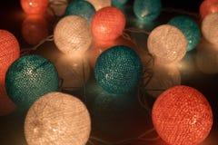 Ljus för bomullsboll, xmas-dag Arkivbild