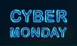 Ljus för Cybermåndag neon royaltyfri illustrationer