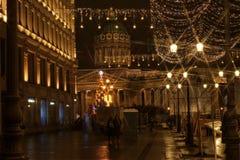 Ljus för girland för natt för Sankt-Petersburg arkitekturslott upplysta Arkivbilder