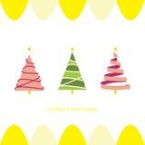 Ljus - för julträd för rosa färger grönt kort Arkivbilder