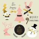 Ljus - för julträd för rosa färger grönt kort med stil för klotterhandattraktion Fotografering för Bildbyråer