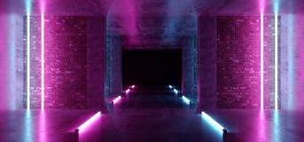 Ljus för lilor för laser för bakgrund Sci Fi för modernt neon hyr rum glödande rosa blåa i konkreta tegelstenväggar för Grunge to stock illustrationer