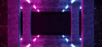 Ljus för lilor för laser för bakgrund Sci Fi för modernt neon hyr rum glödande rosa blåa i konkreta tegelstenväggar för Grunge to vektor illustrationer