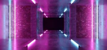 Ljus för lilor för laser för bakgrund Sci Fi för modernt neon hyr rum glödande rosa blåa i konkreta tegelstenväggar för Grunge to royaltyfri illustrationer