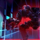 Ljus för neon för robotmekanikerkrigare stock illustrationer