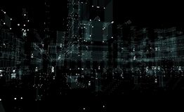 Ljus för neon för stad 3d för Cityscape futuristiskt fotografering för bildbyråer