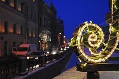 Ljus för nytt år i St Petersburg Arkivfoton