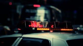 Ljus för polisbil i New York City USA arkivfilmer