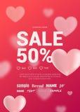 Ljus försäljningsreklamblad med hjärtor för valentin dag Arkivfoton