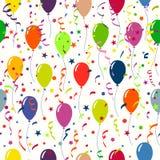 Ljus feriebakgrund med ballonger och konfettier Sömlöst p stock illustrationer