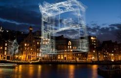 Ljus festival Amsterdam Arkivbilder