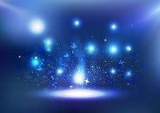 Ljus firar festivalen, blåa Bokeh med fjärilen, glödande exp royaltyfri illustrationer