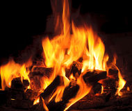 Ljus flamma och brand från brinnande trän Arkivbild
